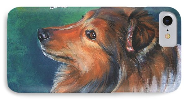 Shetland Sheepdog And Butterfly IPhone Case by Lee Ann Shepard