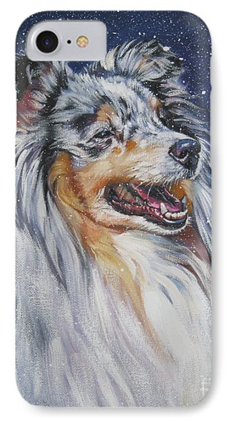 Shetland Sheepdog In Snow IPhone Case by Lee Ann Shepard