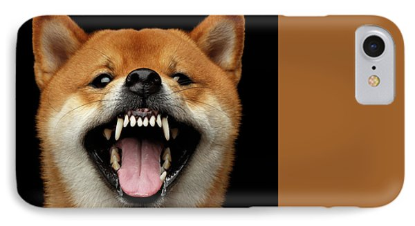 Shiba Inu Growls IPhone Case by Sergey Taran