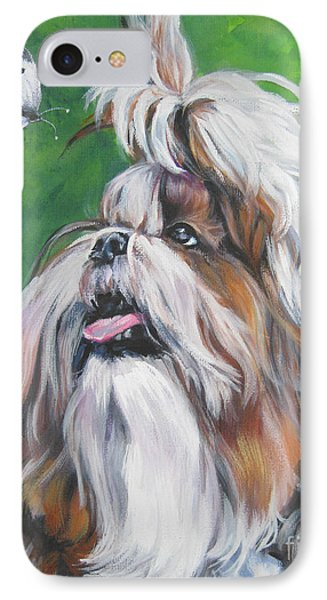 Shih Tzu And Butterfly Phone Case by Lee Ann Shepard