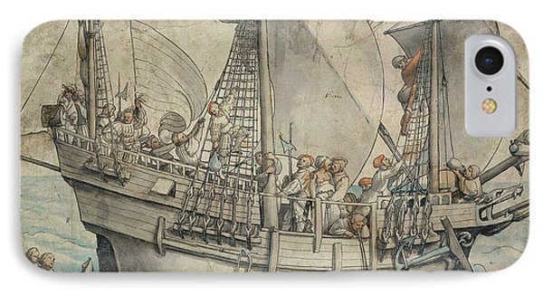 Ship With Revelling Sailors IPhone Case by Hans Holbein the Younger