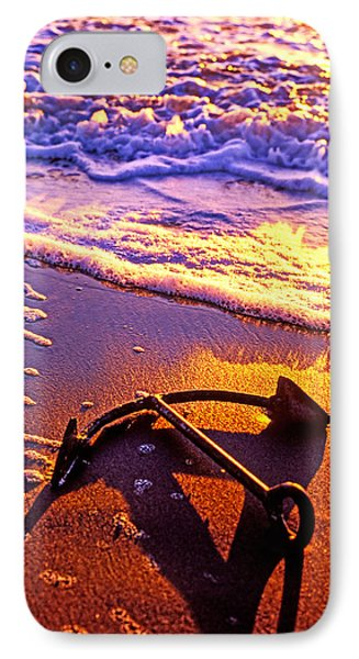 Ships Anchor On Beach Phone Case by Garry Gay