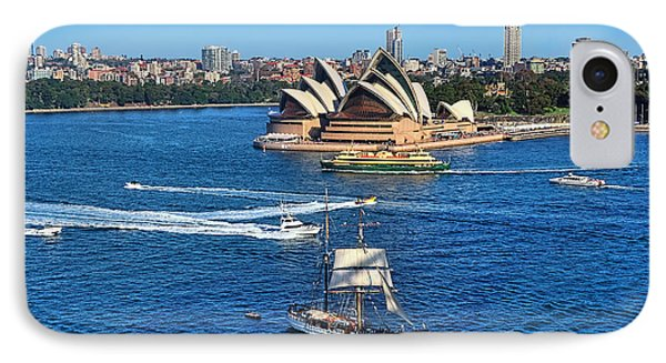 Ships And Boats Passing Opera House Phone Case by Kaye Menner