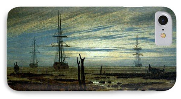 Ships At Anchor IPhone Case by Caspar David Friedrich