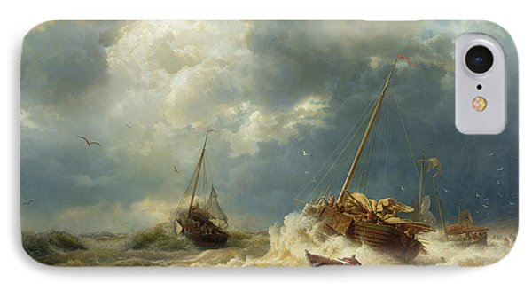 Ships In A Storm On The Dutch Coast Phone Case by Andreas Achenbach