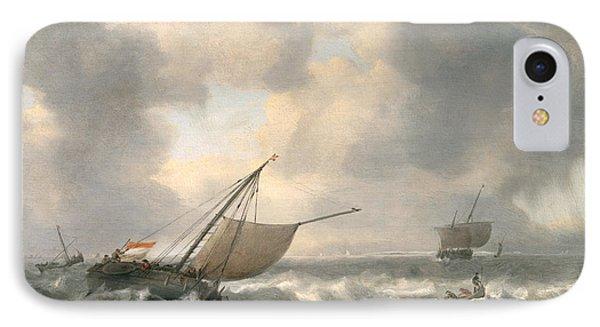 Ships On A Choppy Sea Phone Case by Hendrik van Anthonissen