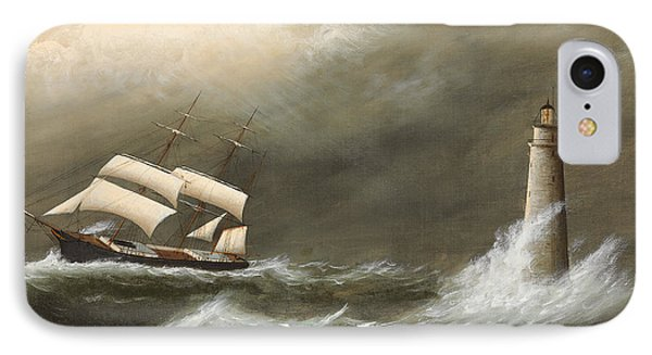 Ships Passing Minot's Light IPhone Case by Clement Drew