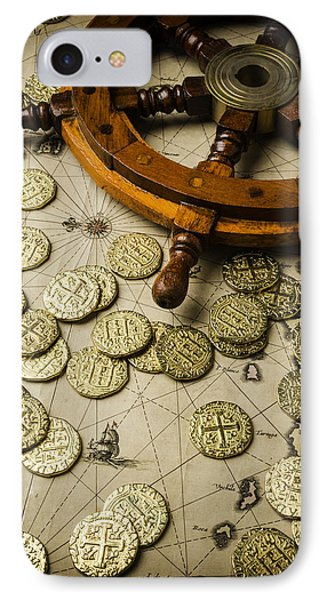 Ships Wheel And Gold Coins IPhone Case