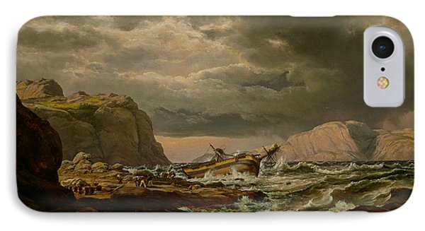 Shipwreck On The Coast Of Norway IPhone Case by Johan Christian Dahl