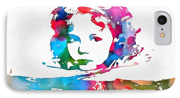 Shirley Temple Watercolor Paint Splatter IPhone Case by Dan Sproul