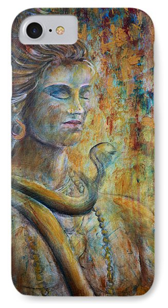 IPhone Case featuring the painting Shiva2-upclose-portrait by Nik Helbig