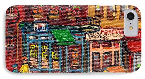 St Viateur Bagel Shop And Mehadrins Kosher Deli Best Original Montreal Jewish Landmark Painting  IPhone Case by Carole Spandau