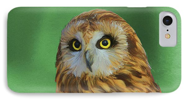 Short Eared Owl On Green IPhone Case by Dan Sproul