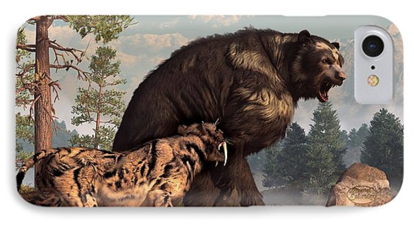 Short-faced Bear And Saber-toothed Cat Phone Case by Daniel Eskridge