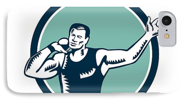 Shot Put Track And Field Athlete Woodcut IPhone Case by Aloysius Patrimonio