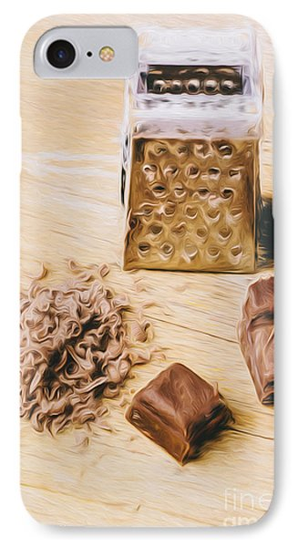Shredded Chocolate Flakes Fine Art Drawing IPhone Case by Jorgo Photography - Wall Art Gallery