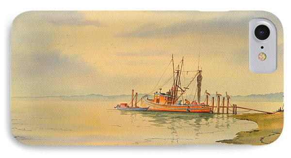 IPhone Case featuring the painting Shrimp Boat Sunset by Bill Holkham