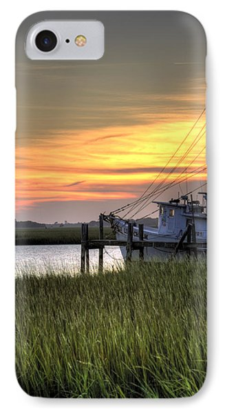 Shrimp Boat Sunset Phone Case by Dustin K Ryan