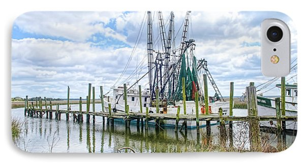 Shrimp Boats Of St. Helena Island IPhone Case by Scott Hansen