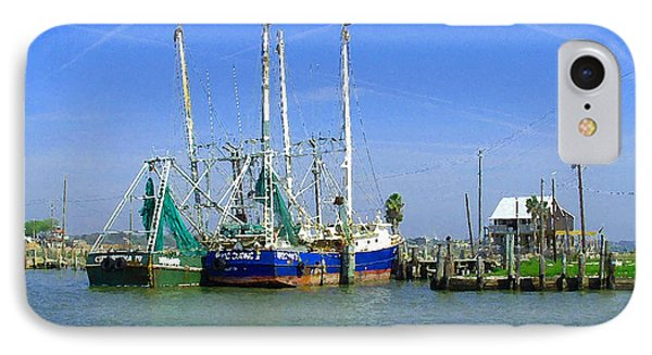 Shrimp Boats Seabrook  Phone Case by Fred Jinkins