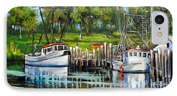 Shrimping Boats Phone Case by Dianne Parks