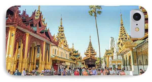 Burmese Python iPhone 7 Case - Shwedagon Pagoda by Delphimages Photo Creations
