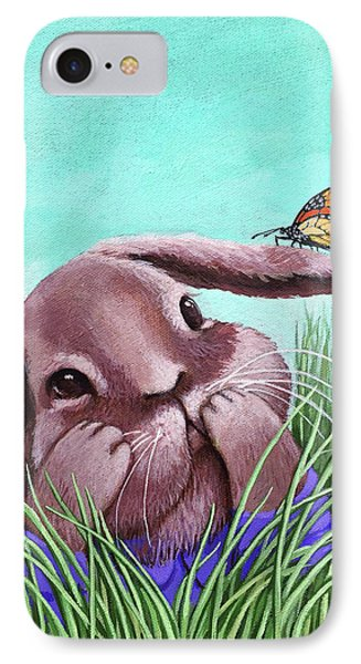 IPhone Case featuring the painting Shy Bunny - Original Painting by Linda Apple