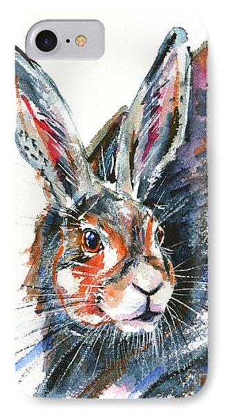 IPhone Case featuring the painting Shy Hare by Zaira Dzhaubaeva