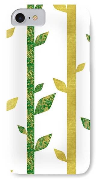 Siam, Abstract Bamboo Pattern, Gold Glitter, Dark Green IPhone Case