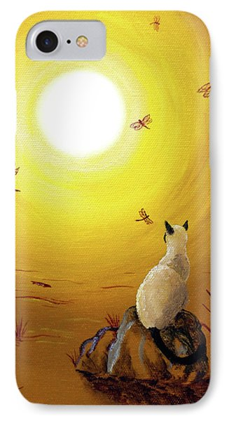 Siamese Cat With Red Dragonflies IPhone Case by Laura Iverson