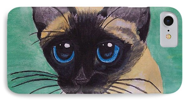 IPhone Case featuring the painting Siamese by Leslie Allen