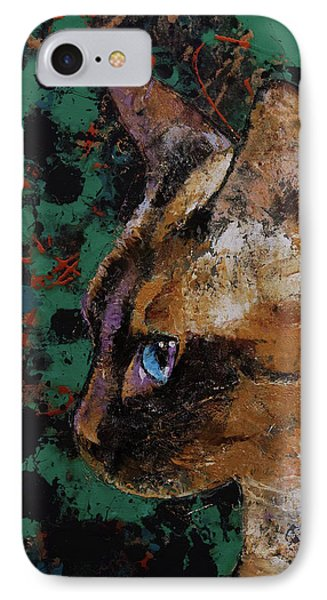 Siamese Portrait IPhone Case by Michael Creese