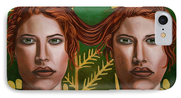 IPhone Case featuring the painting Siamese Twins 5 by Leah Saulnier The Painting Maniac