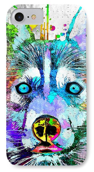 Siberian Husky Dog Grunge IPhone Case by Daniel Janda