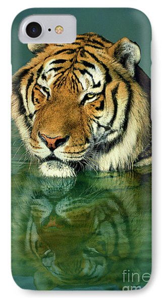 Siberian Tiger Reflection Wildlife Rescue IPhone Case by Dave Welling