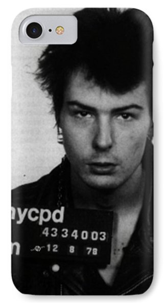Sid Vicious Mug Shot Vertical IPhone Case by Tony Rubino