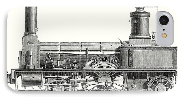 Sideview Of An Old Fashioned Locomotive Showing The Mechanism Of The Engine IPhone Case