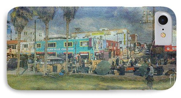 IPhone Case featuring the photograph Sidewalk Cafe Venice Ca Panorama  by David Zanzinger