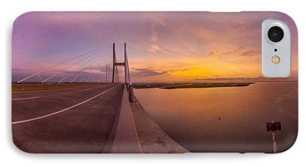 Sidney Lanier Bridge Twilight Panorama IPhone Case by Chris Bordeleau
