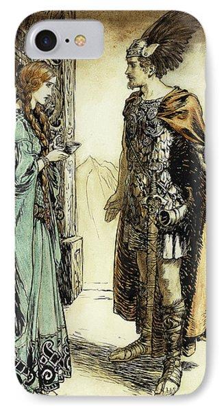 Siegfried Meets Gutrune IPhone Case by Arthur Rackham