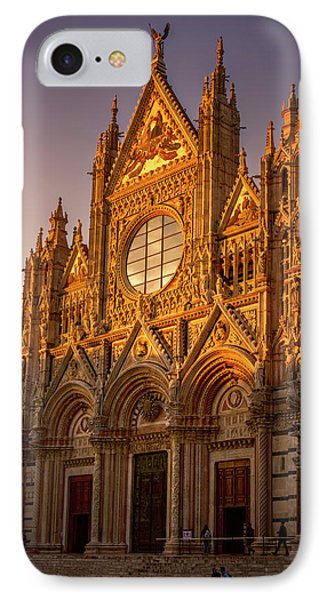 IPhone Case featuring the photograph Siena Italy Cathedral Sunset by Joan Carroll