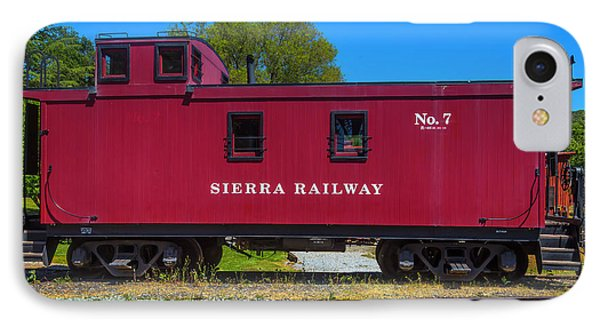 Sierra Railway Red Caboose No 7 IPhone Case by Garry Gay