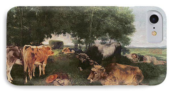 Siesta At Haymaking Time IPhone Case by Gustave Courbet