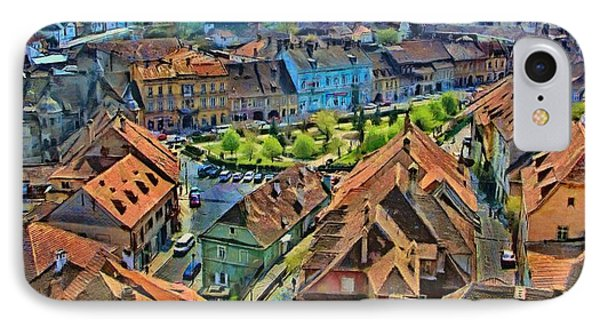 IPhone Case featuring the painting Sighisoara From Above by Jeff Kolker
