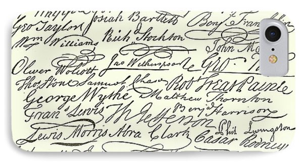 Signatures On The Declaration Of Independence IPhone Case by American School
