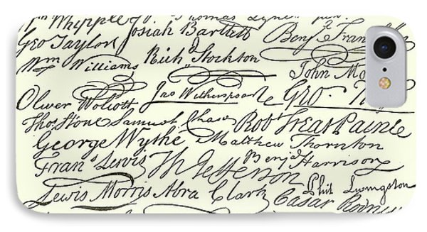 Signatures To The Declaration Of Independence IPhone Case by American School