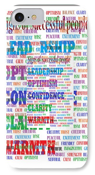Signs Of Successful People A Texto-graphic Of Leadership Qualities Poster IPhone Case by Navin Joshi