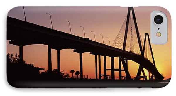 Silhouette Of A Bridge Over A River IPhone Case