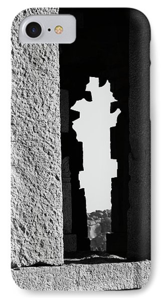 IPhone 7 Case featuring the photograph Silhouette Of Pillars, Hampi, 2017 by Hitendra SINKAR