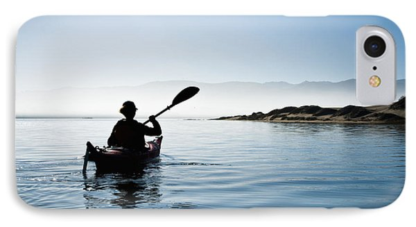 Silhouetted Morro Bay Kayaker IPhone Case by Bill Brennan - Printscapes